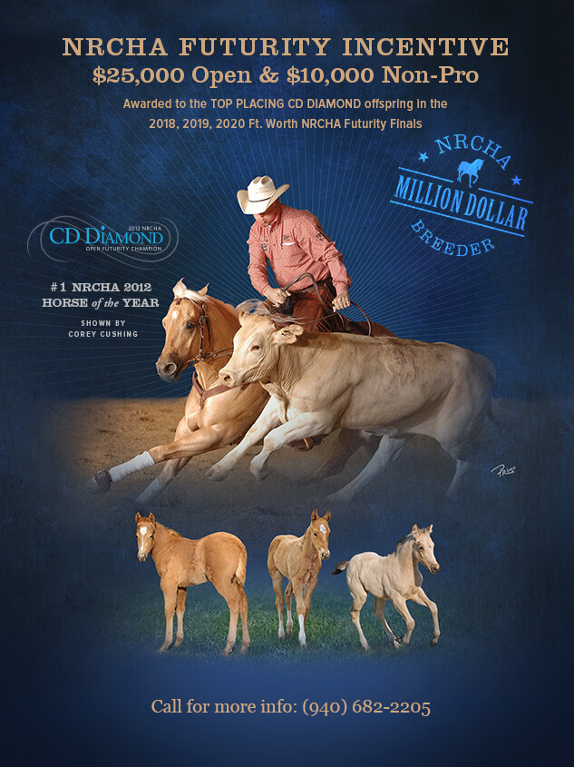 NRCHA Futurity Incentive awarded to top CD Diamond offspring in NRCHA Futurity finals